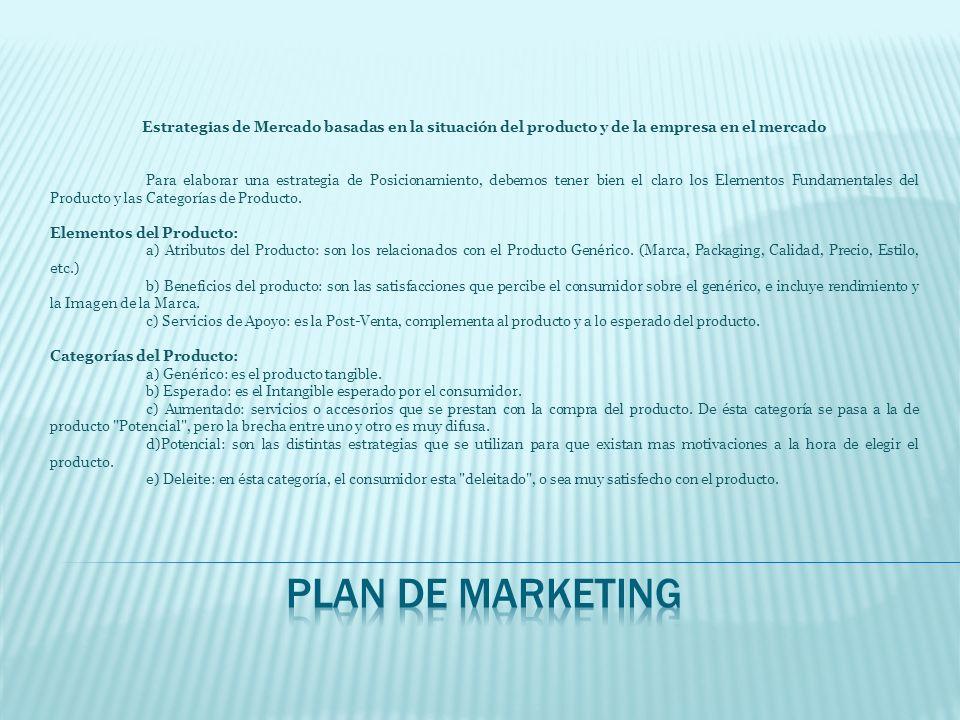 Estrategias de Mercado basadas en la situación del producto y de la empresa en el mercado