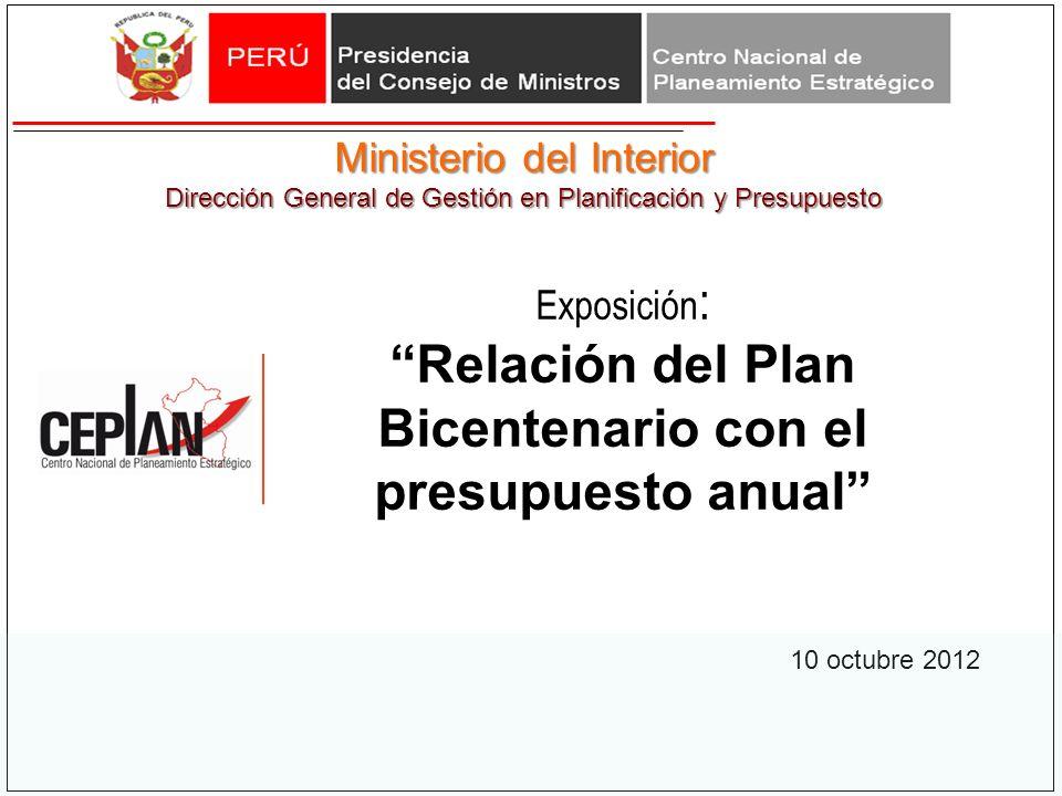 Relación del Plan Bicentenario con el presupuesto anual
