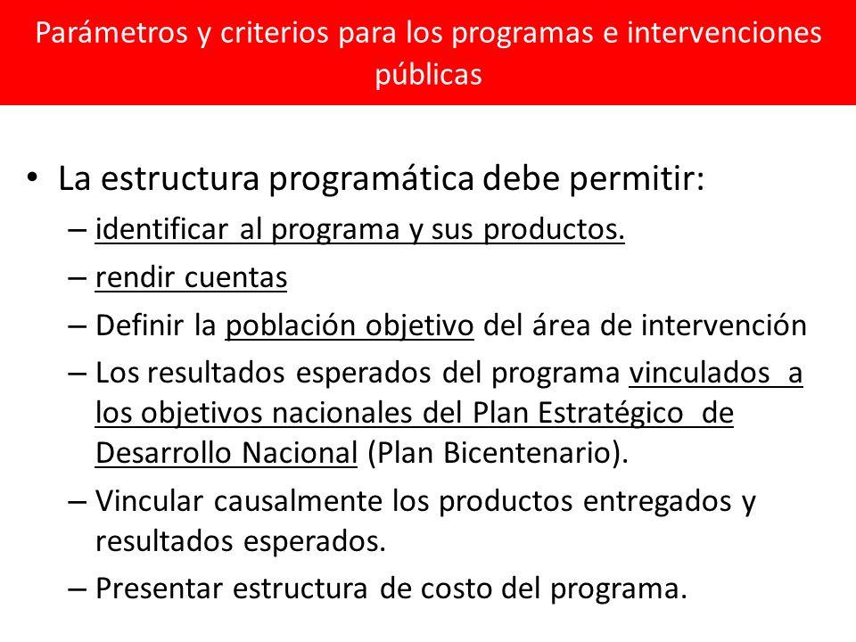 Parámetros y criterios para los programas e intervenciones públicas