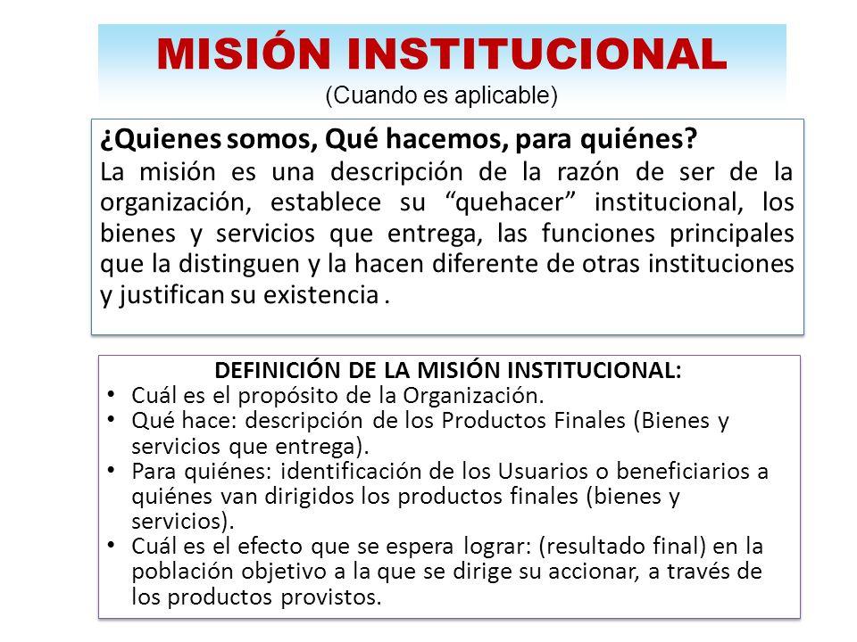 DEFINICIÓN DE LA MISIÓN INSTITUCIONAL: