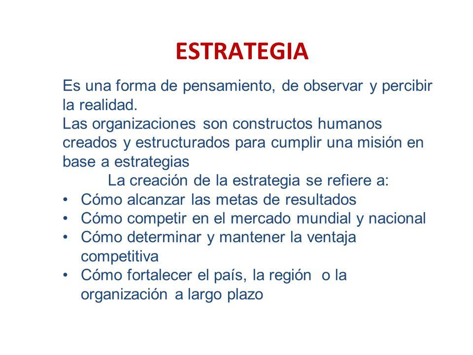 La creación de la estrategia se refiere a: