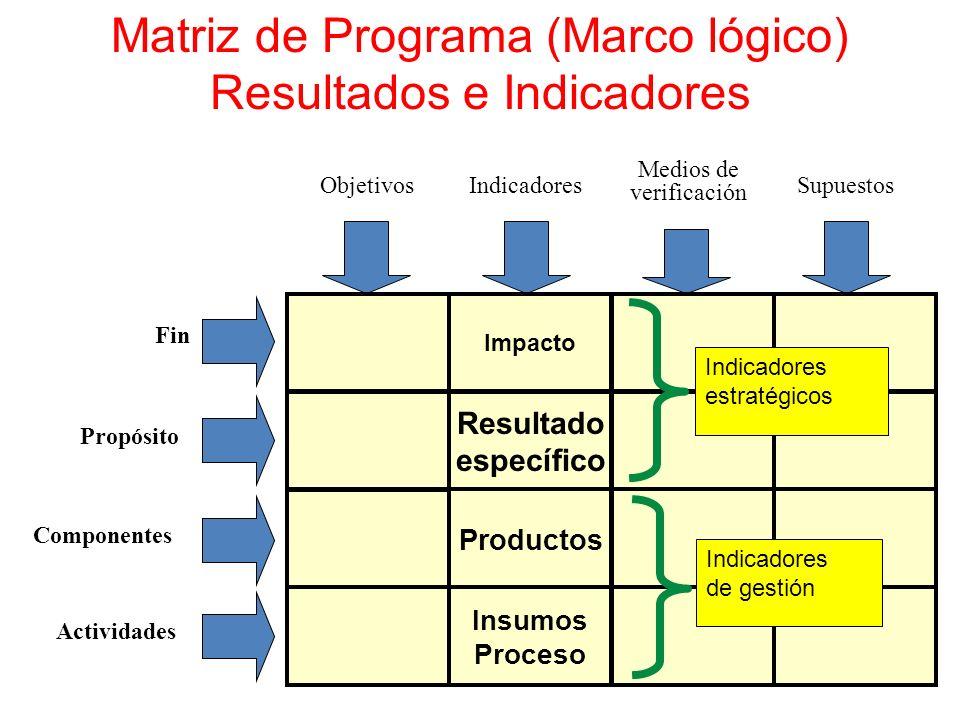 Matriz de Programa (Marco lógico) Resultados e Indicadores