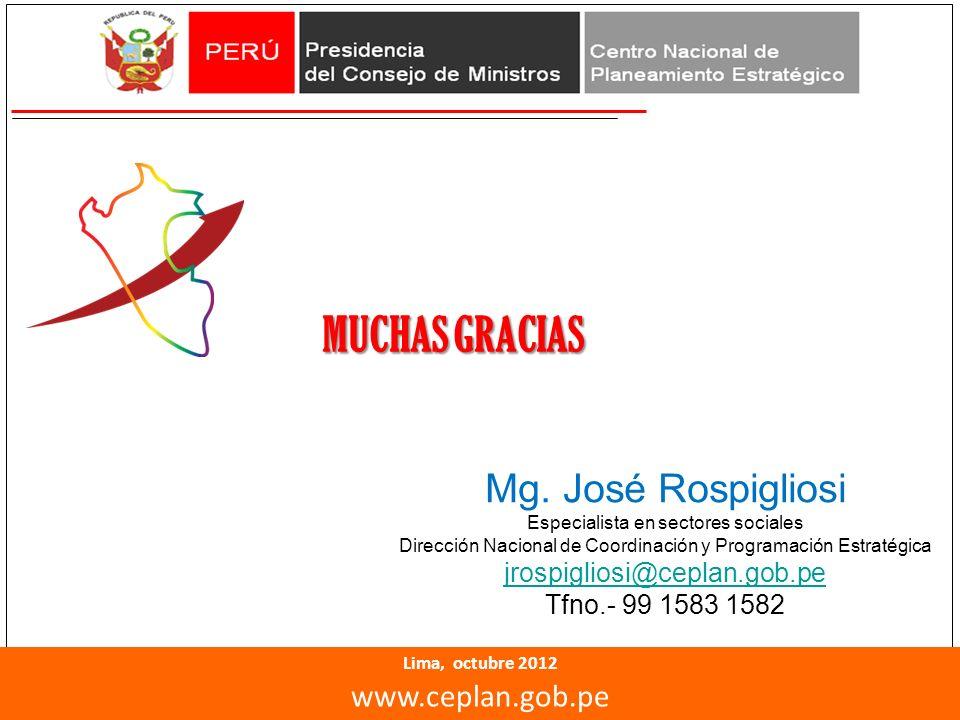 MUCHAS GRACIAS Mg. José Rospigliosi www.ceplan.gob.pe