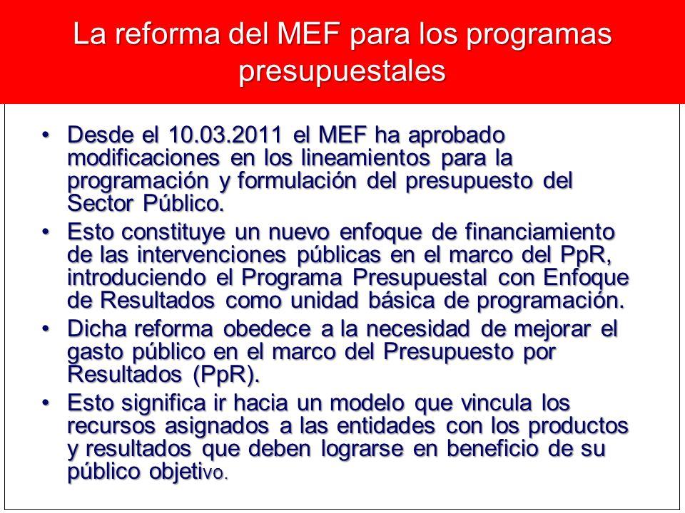 La reforma del MEF para los programas presupuestales