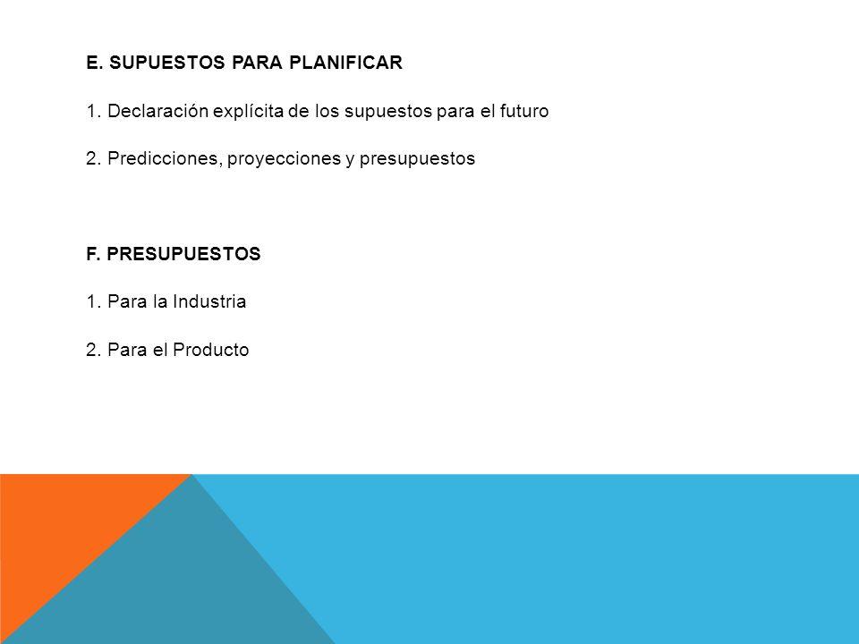 E. SUPUESTOS PARA PLANIFICAR 1