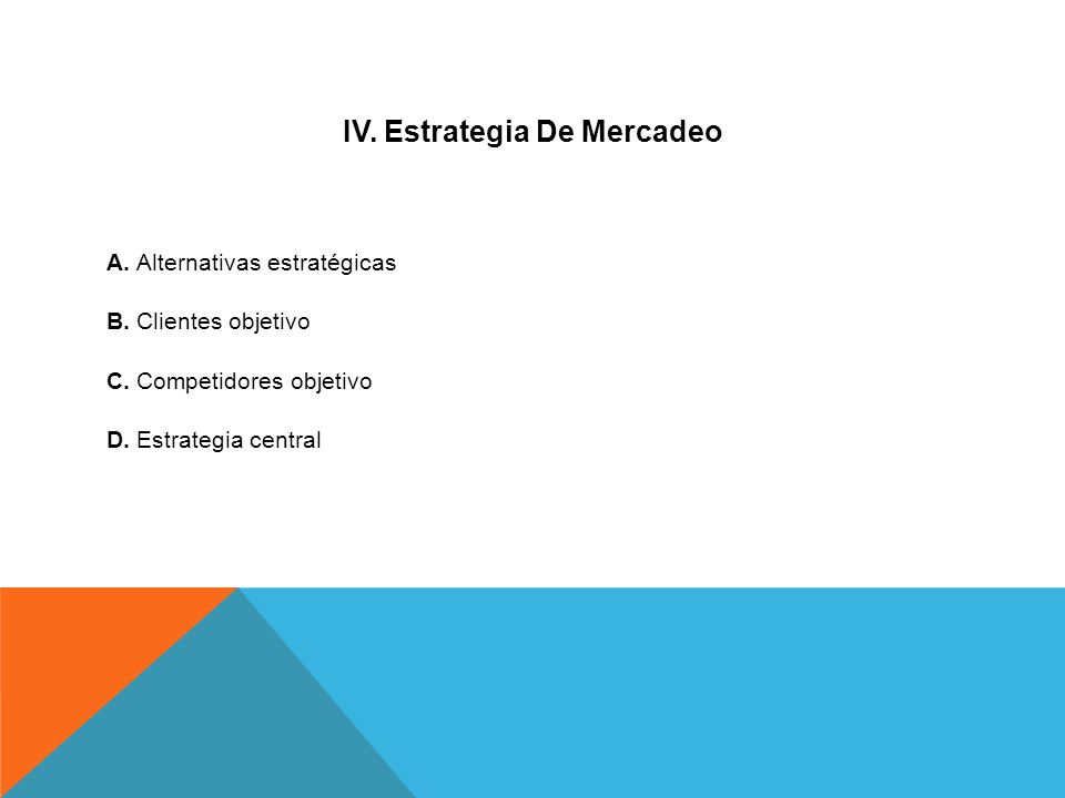 IV. Estrategia De Mercadeo