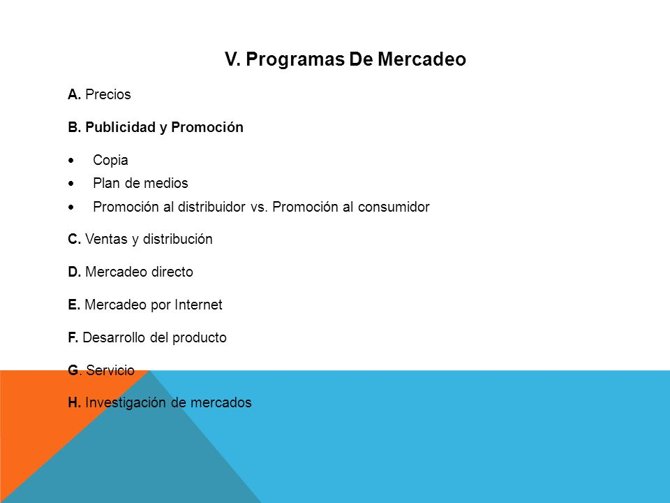 V. Programas De Mercadeo