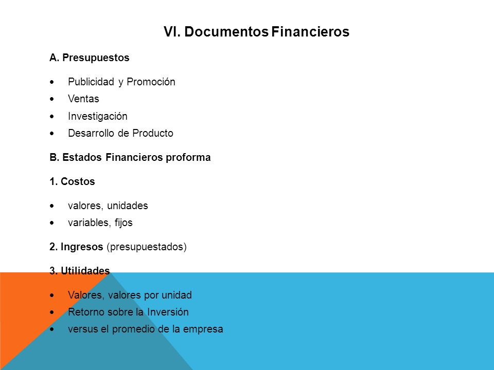VI. Documentos Financieros