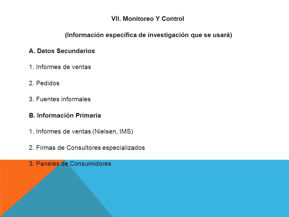 VII. Monitoreo Y Control (Información específica de investigación que se usará) A.