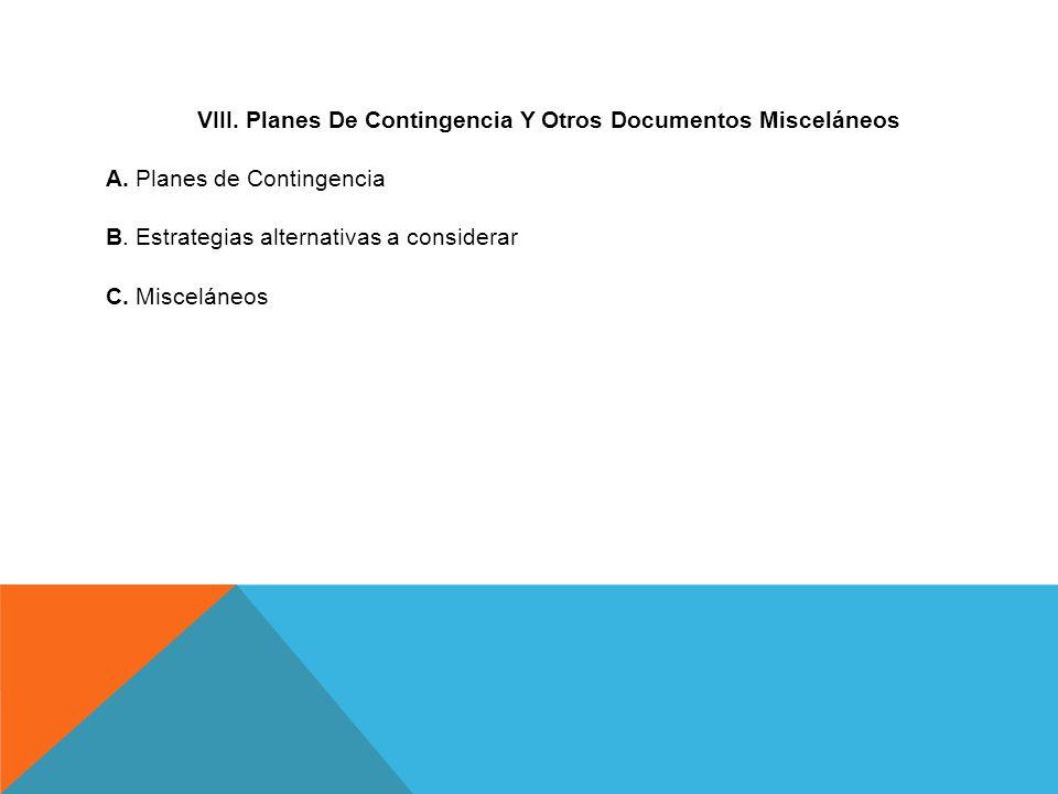 VIII. Planes De Contingencia Y Otros Documentos Misceláneos A