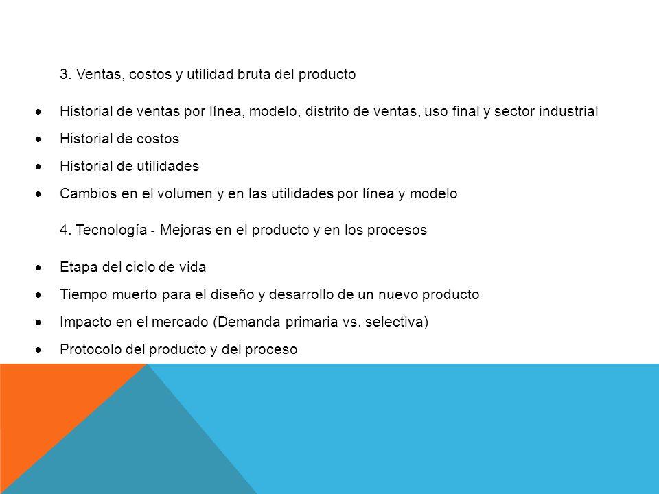 3. Ventas, costos y utilidad bruta del producto