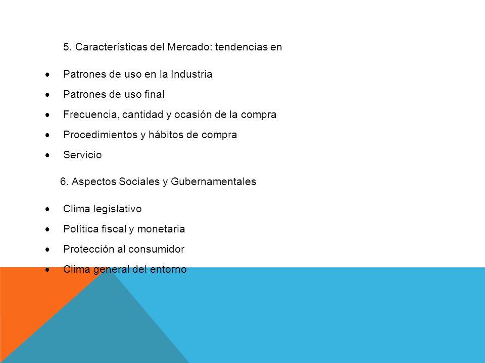 5. Características del Mercado: tendencias en