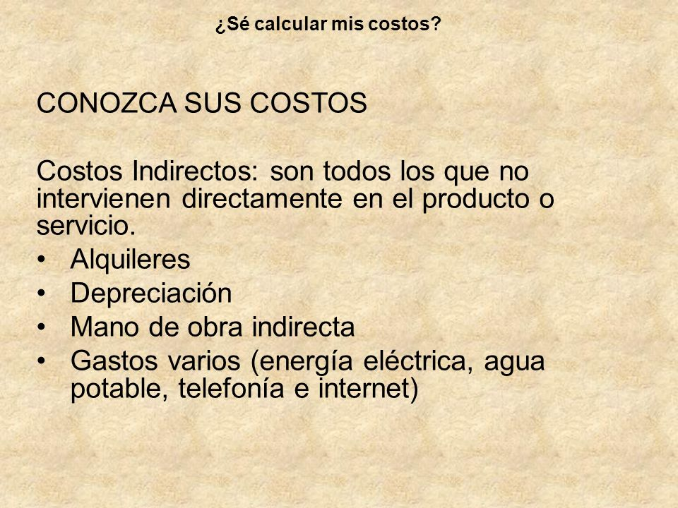 ¿Sé calcular mis costos