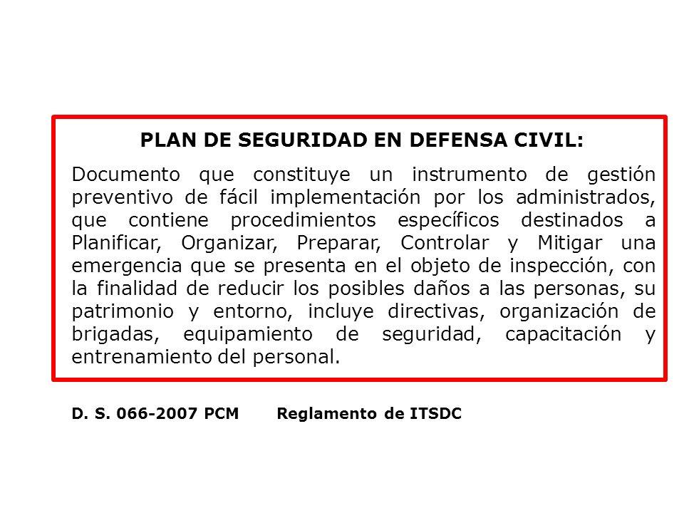 PLAN DE SEGURIDAD EN DEFENSA CIVIL: