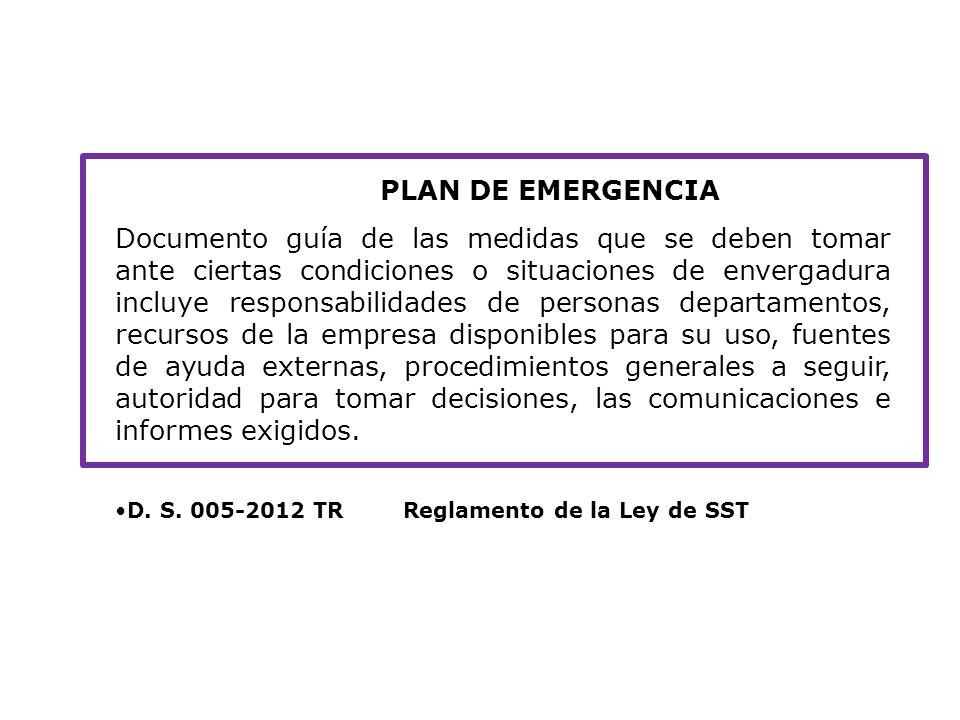 Planes: PLAN DE EMERGENCIA.