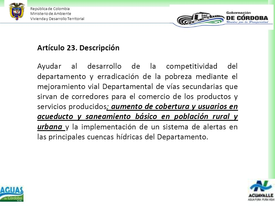 Artículo 23. Descripción