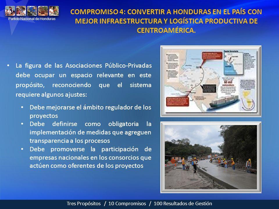 COMPROMISO 4: CONVERTIR A HONDURAS EN EL PAÍS CON MEJOR INFRAESTRUCTURA Y LOGÍSTICA PRODUCTIVA DE CENTROAMÉRICA.