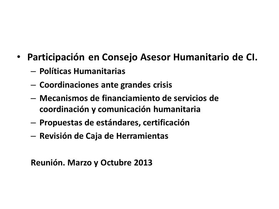 Participación en Consejo Asesor Humanitario de CI.