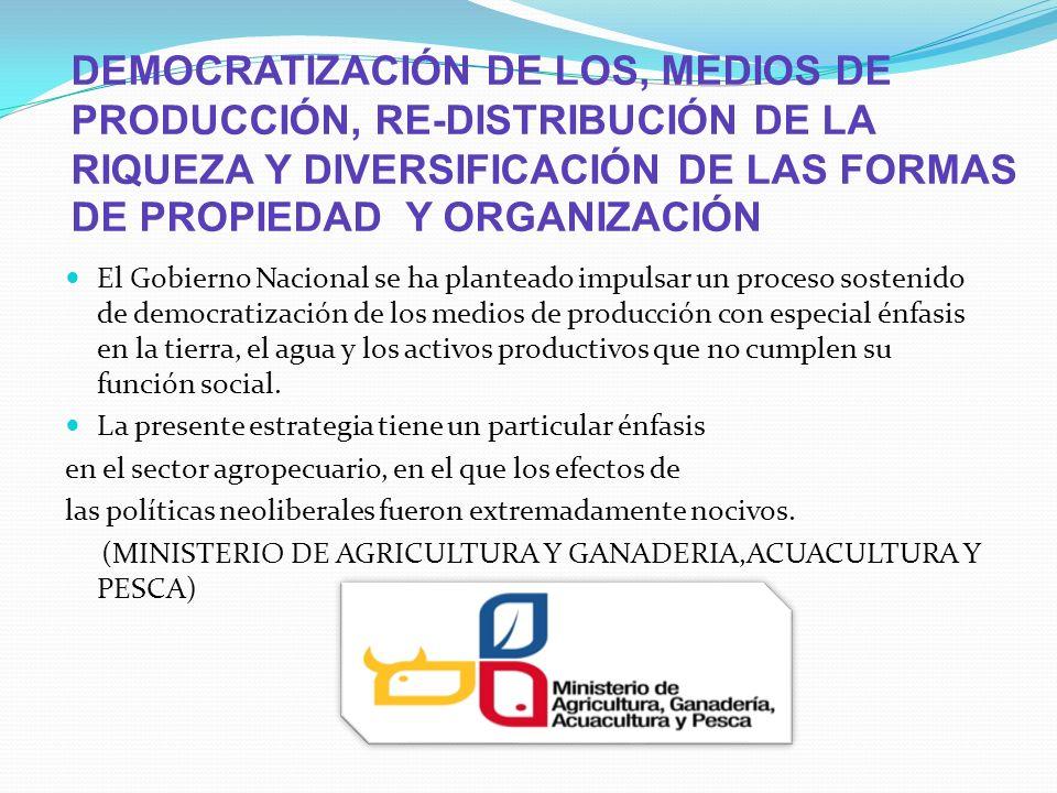 DEMOCRATIZACIÓN DE LOS, MEDIOS DE PRODUCCIÓN, RE-DISTRIBUCIÓN DE LA RIQUEZA Y DIVERSIFICACIÓN DE LAS FORMAS DE PROPIEDAD Y ORGANIZACIÓN