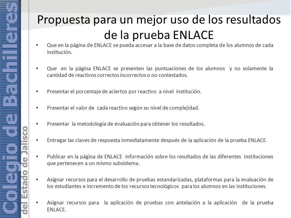 Propuesta para un mejor uso de los resultados de la prueba ENLACE