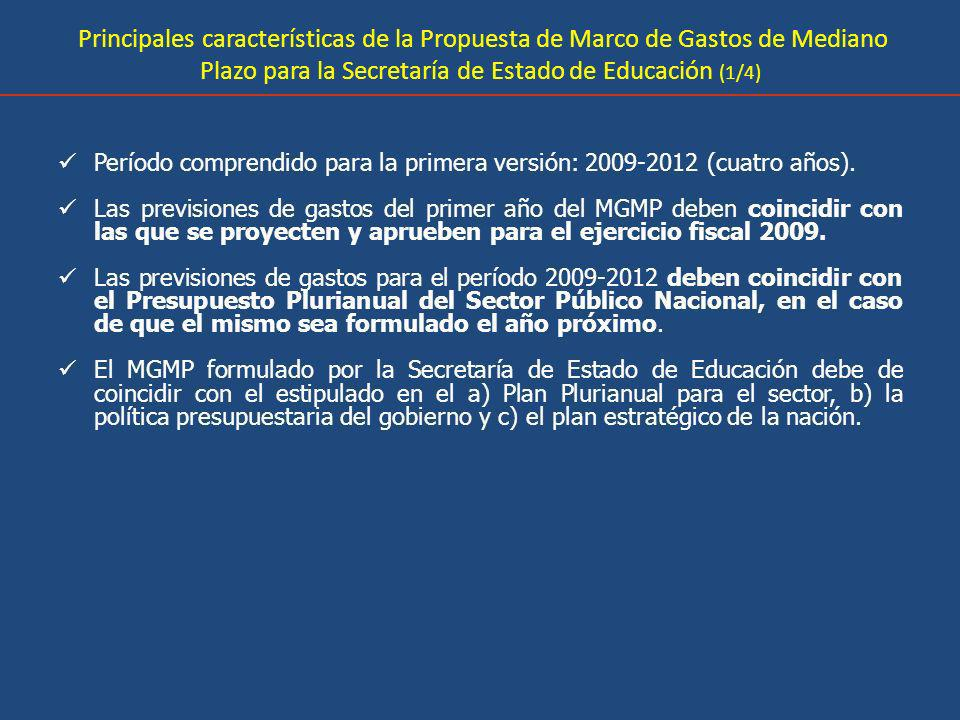 Principales características de la Propuesta de Marco de Gastos de Mediano Plazo para la Secretaría de Estado de Educación (1/4)