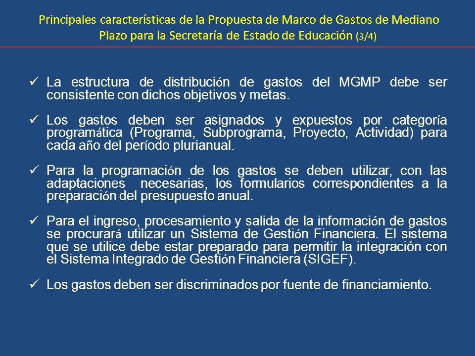 Principales características de la Propuesta de Marco de Gastos de Mediano Plazo para la Secretaría de Estado de Educación (3/4)