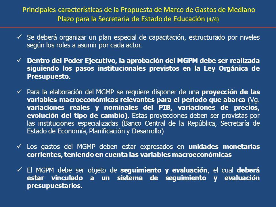 Principales características de la Propuesta de Marco de Gastos de Mediano Plazo para la Secretaría de Estado de Educación (4/4)