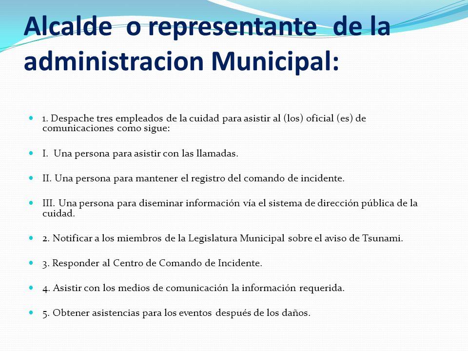 Alcalde o representante de la administracion Municipal:
