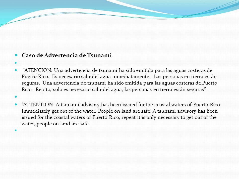Caso de Advertencia de Tsunami