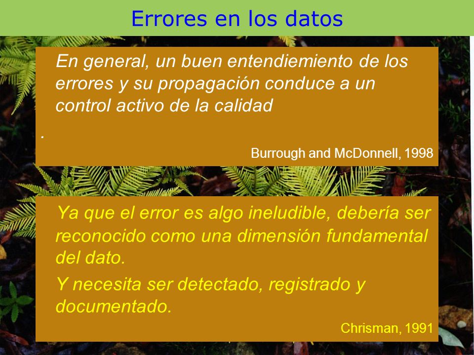Errores en los datos En general, un buen entendiemiento de los errores y su propagación conduce a un control activo de la calidad.
