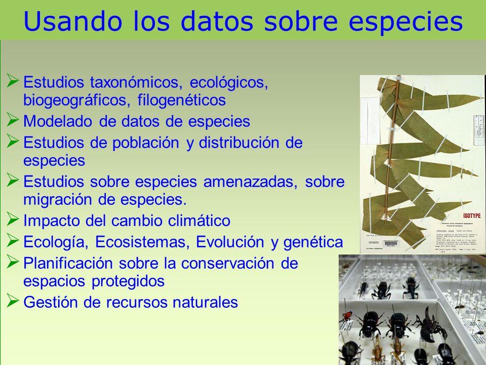 Usando los datos sobre especies