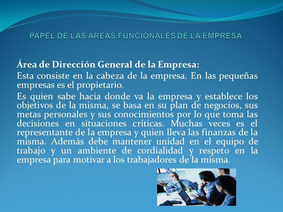PAPEL DE LAS ÁREAS FUNCIONALES DE LA EMPRESA