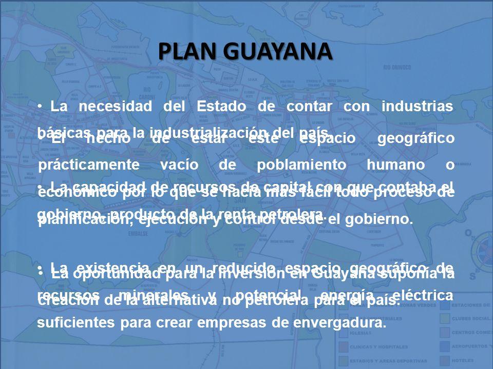 PLAN GUAYANA La necesidad del Estado de contar con industrias básicas para la industrialización del país.