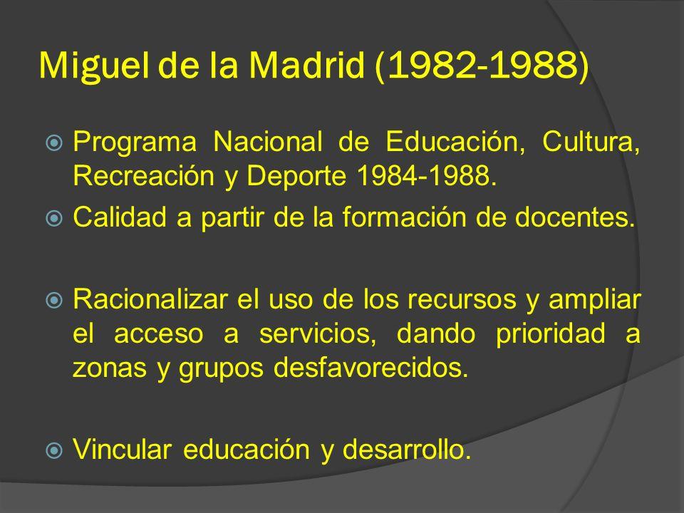 Miguel de la Madrid (1982-1988) Programa Nacional de Educación, Cultura, Recreación y Deporte 1984-1988.