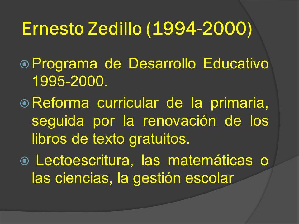 Ernesto Zedillo (1994-2000) Programa de Desarrollo Educativo 1995-2000.