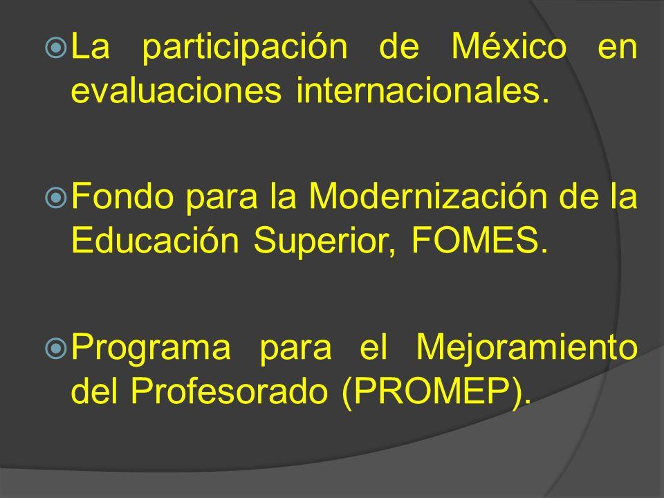 La participación de México en evaluaciones internacionales.