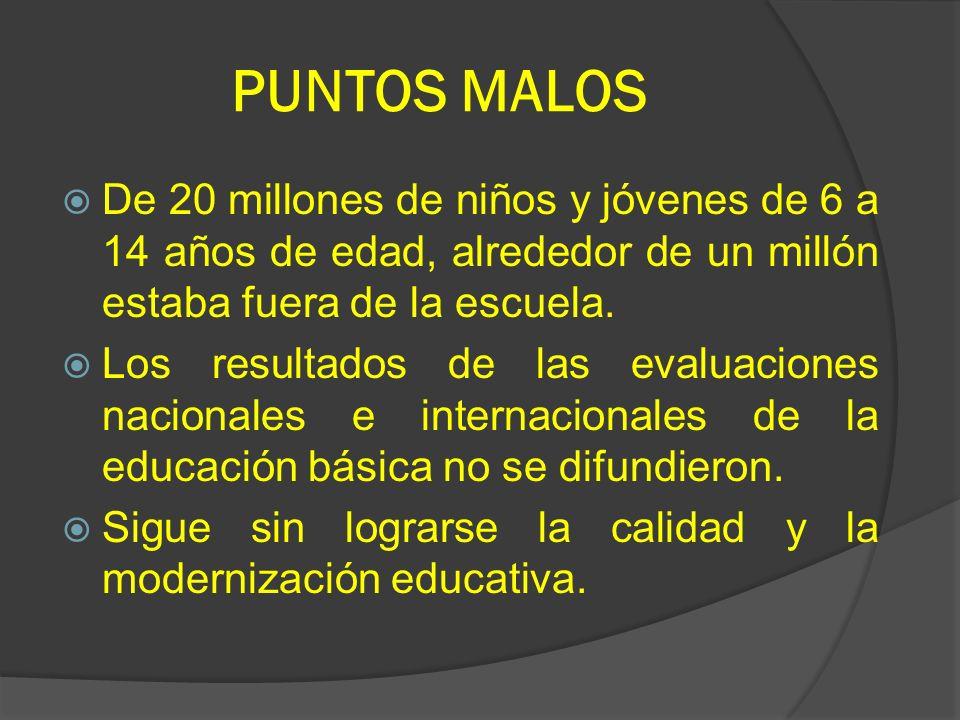 PUNTOS MALOS De 20 millones de niños y jóvenes de 6 a 14 años de edad, alrededor de un millón estaba fuera de la escuela.