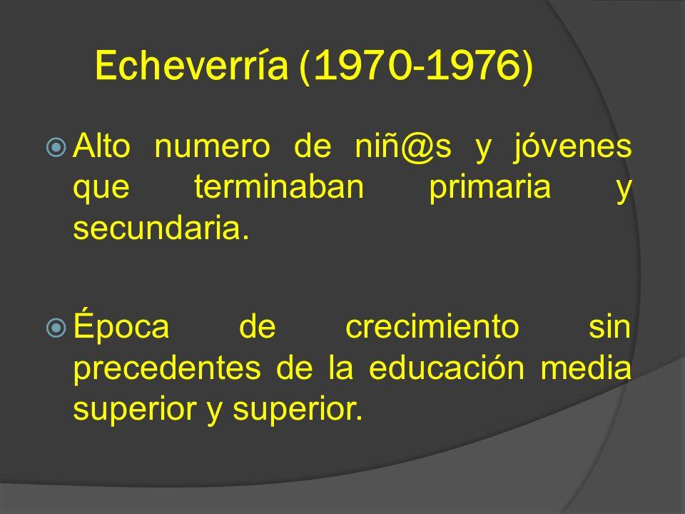 Echeverría (1970-1976) Alto numero de niñ@s y jóvenes que terminaban primaria y secundaria.