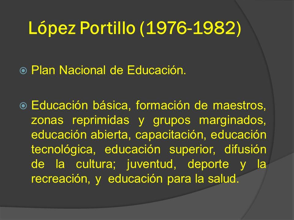 López Portillo (1976-1982) Plan Nacional de Educación.