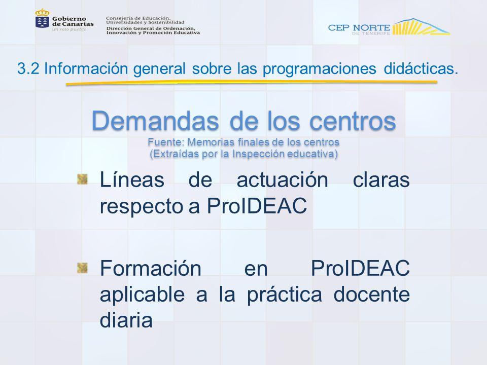 3.2 Información general sobre las programaciones didácticas.