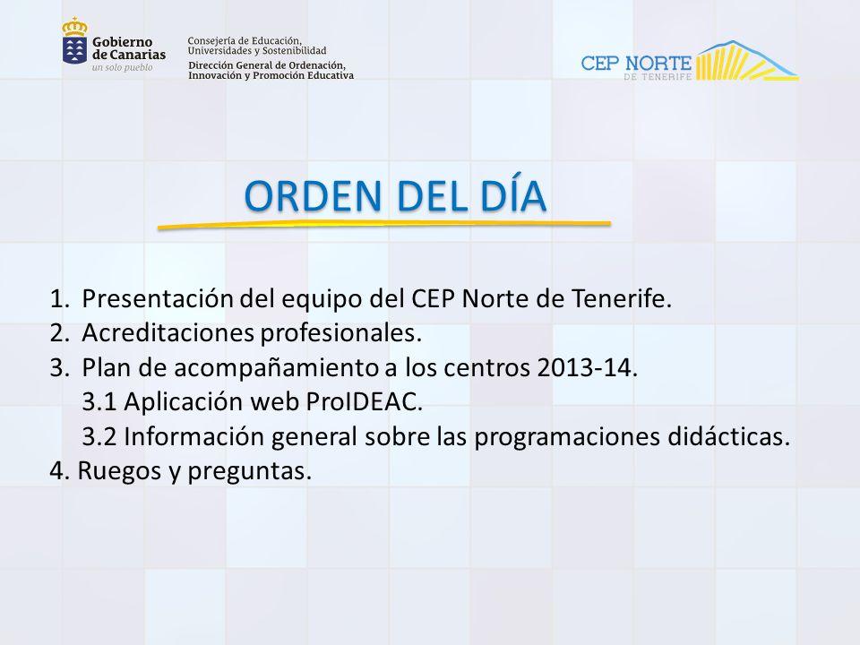 ORDEN DEL DÍA Presentación del equipo del CEP Norte de Tenerife.