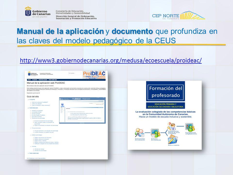 Manual de la aplicación y documento que profundiza en las claves del modelo pedagógico de la CEUS