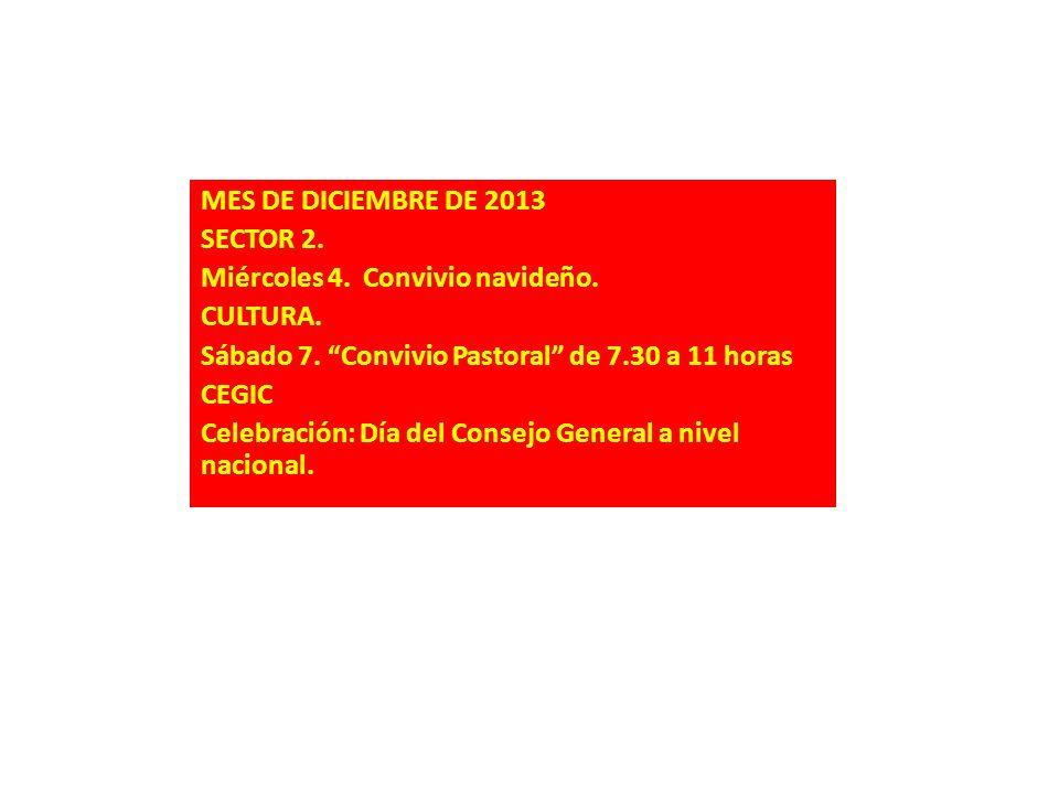 MES DE DICIEMBRE DE 2013 SECTOR 2. Miércoles 4. Convivio navideño