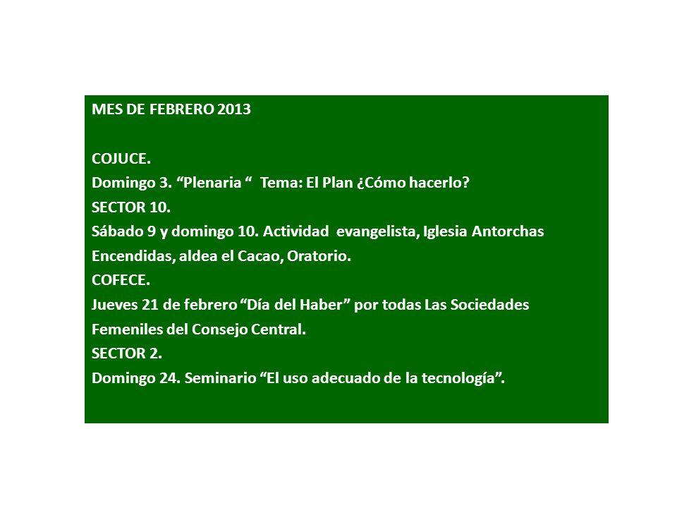 MES DE FEBRERO 2013 COJUCE. Domingo 3