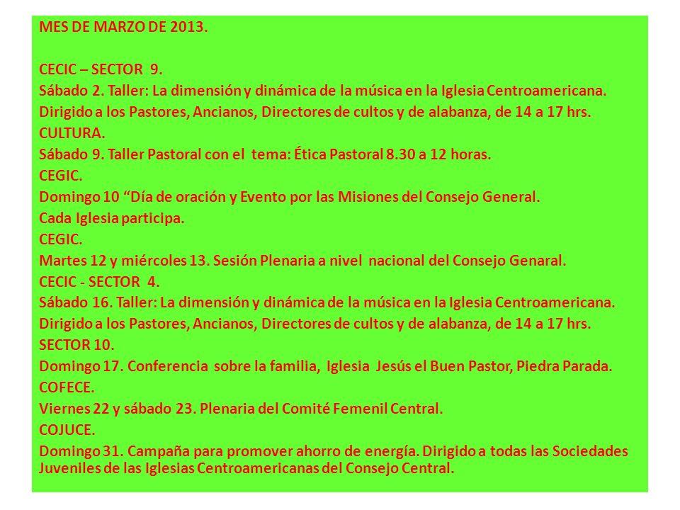 MES DE MARZO DE 2013. CECIC – SECTOR 9. Sábado 2