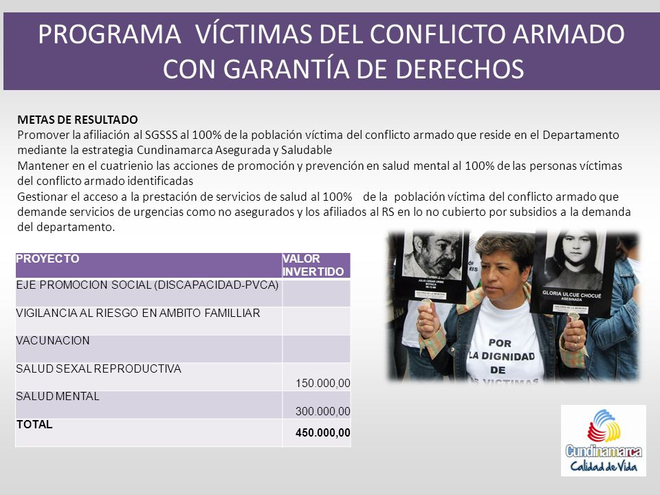 PROGRAMA VÍCTIMAS DEL CONFLICTO ARMADO CON GARANTÍA DE DERECHOS