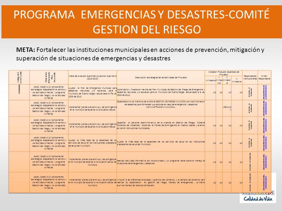 PROGRAMA EMERGENCIAS Y DESASTRES-COMITÉ GESTION DEL RIESGO