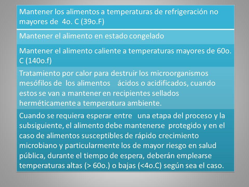 Mantener los alimentos a temperaturas de refrigeración no mayores de 4o. C (39o.F)