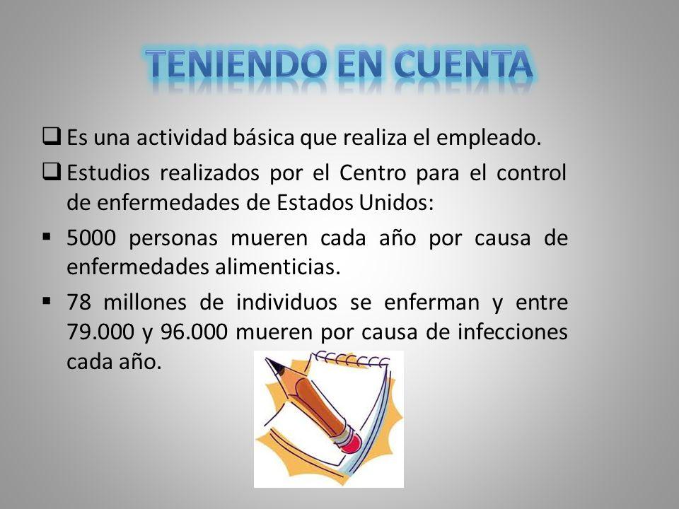 TENIENDO EN CUENTA Es una actividad básica que realiza el empleado.