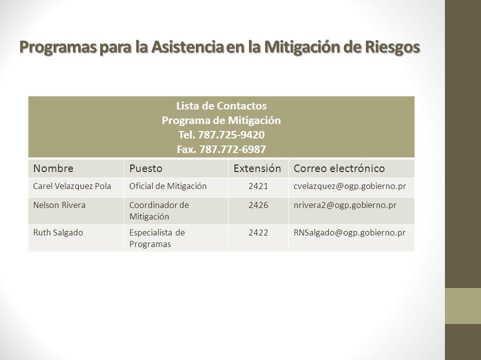 Programa de Mitigación